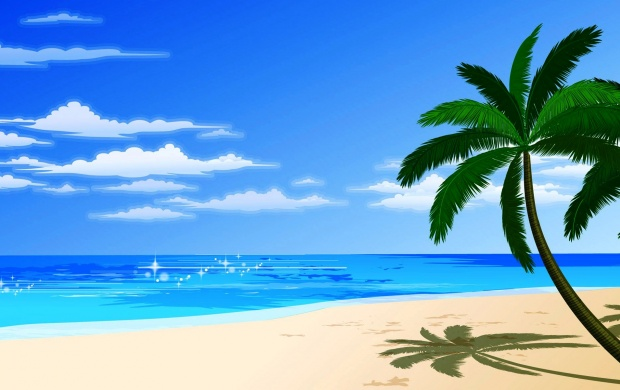 Cartoon Beach and Palm (click to view)