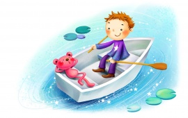 Cartoon Boy Boating