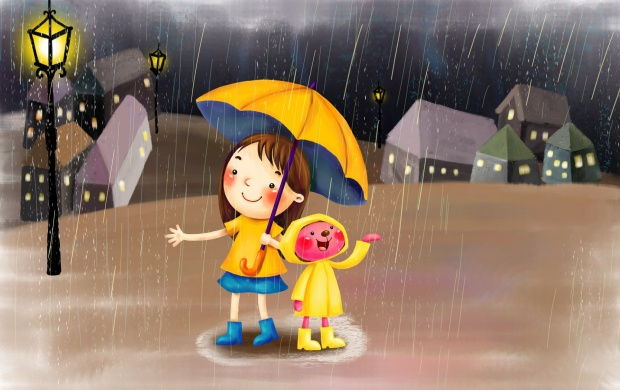 Cartoon Child In Rain (click to view)