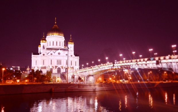 Cathedral Of Christ The Savior Moscow Russia Lights (click to view)
