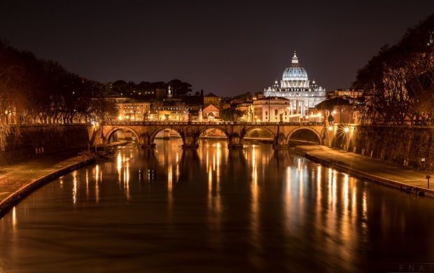 Cathedral Of St Peter Italy Night River (click to view)