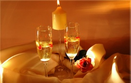 Champagne Candle Light Romantic Love