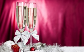 Champagne Glasses And Christmas Decoration