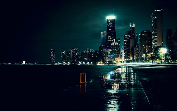 Chicago Night Building And River (click to view)