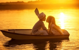 Children Friends Kiss In Boat