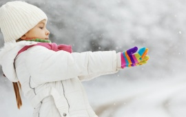 Children Girl Catch A Winter Snow
