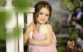 Children Girl Flower Dress Smile
