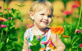 Children Girl Flowers Look