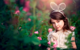 Children Girl Pink Flowers