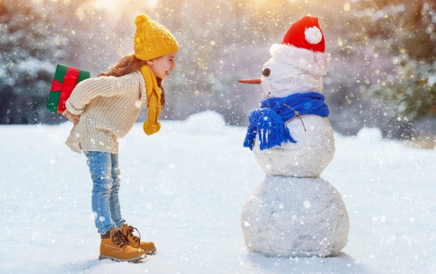 Children Girl Winter Snowman (click to view)