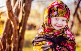 Children Girl With Shawl