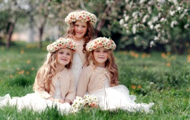 Children Girls Wearing Fancy Dress