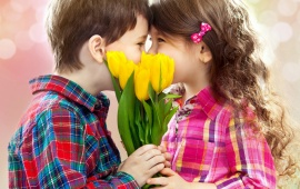 Children Kiss Tulips Flowers