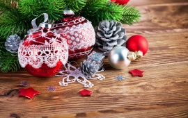 Christmas Ornaments Decoration Wood Background