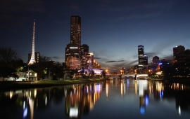 City Night River Reflection