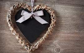 Close Up Heart On Wooden Background