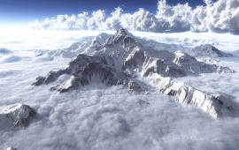 Clouds and Mountains Seen from Above