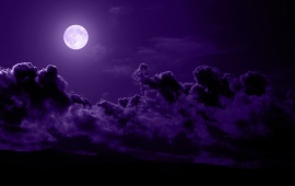 Clouds Moon Purple Night