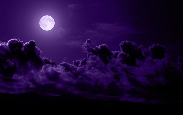 Clouds Moon Purple Night (click to view)