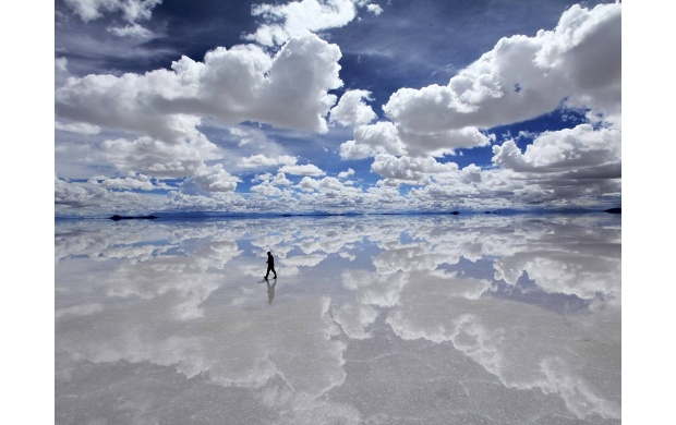 Clouds Reflection On Salt Lake (click to view)