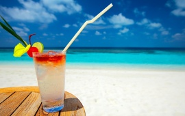 Cocktail On White Sand Beach