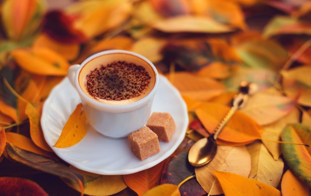 Coffee With Yellow Autumn Leaves (click to view)