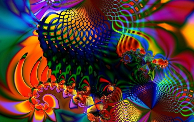 Colored Fractal On Screen (click to view)