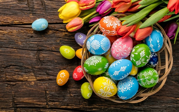 Colorful Easter Eggs Tulips (click to view)