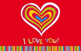 Colorful Hearts I Love You Romantic