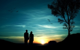 Couple Sunset Blue Sky