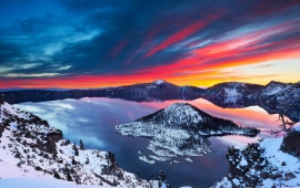 Crater Lake Sunrise Winter Landscape