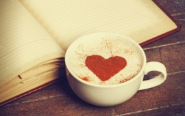 Cup Coffee In Love Heart Notebook