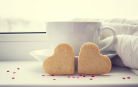 Cup Coffee Love Hearts Biscuit