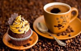 Cupcake Cream And Cup Coffee
