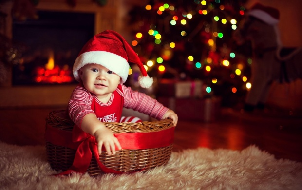Cute Baby Wearing Christmas Cap (click to view)