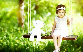 Cute Baby With White Teddy Bear