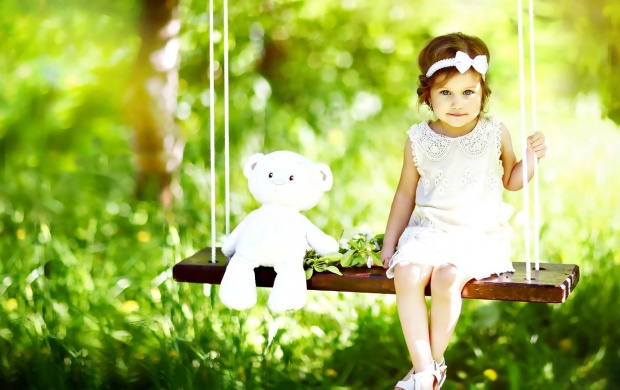 Cute Baby With White Teddy Bear (click to view)