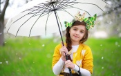 Cute Baby With White Umbrella