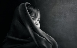 Cute Child Wearing Black Cloth