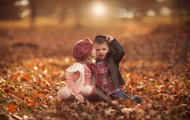 Cute Girl Kiss Boy Fall Leaves (click to view)