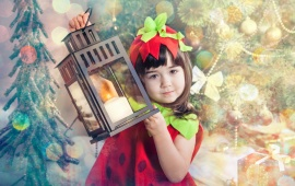 Cute Girl With New Year Lantern