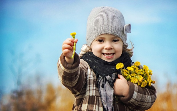 Cute Girl With Spring Flowers Bouquet (click to view)