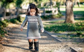 Cute Little Girl Walking