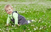 Cute Lovely Baby Play In Garden