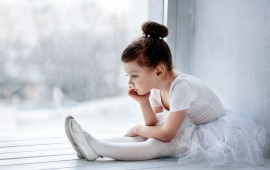 Cute Sad Ballerina Girl