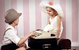 Cute Typist Boy And Girl