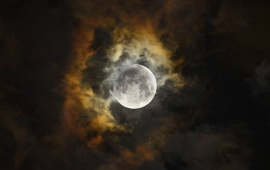 Dark Clouds In Moon