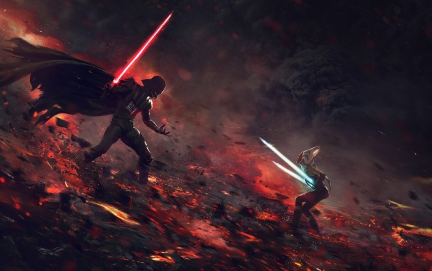 Darth Vader And Lightsaber Star Wars (click to view)