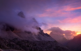 Dawn Mountains And Clouds Nature