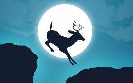 Deer Jump Moon Sky Creative